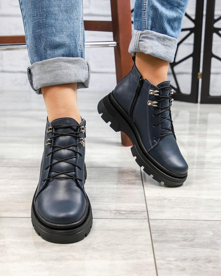 Демисезонные ботинки женские на шнуровке синие