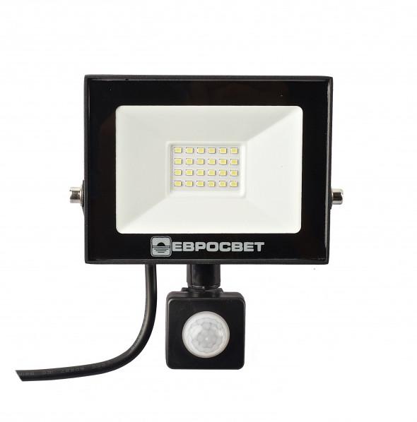 LED Прожектор Евросвет с датчиком движения 20W 6400K IP65 1800Lm EV-20-504D