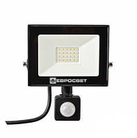 LED Прожектор Евросвет с датчиком движения 20W 6400K IP65 1800Lm EV-20-504D, фото 1
