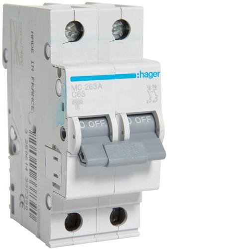 Автоматический выключатель 63А, 2п, С, 6 kA, hager (Германия)