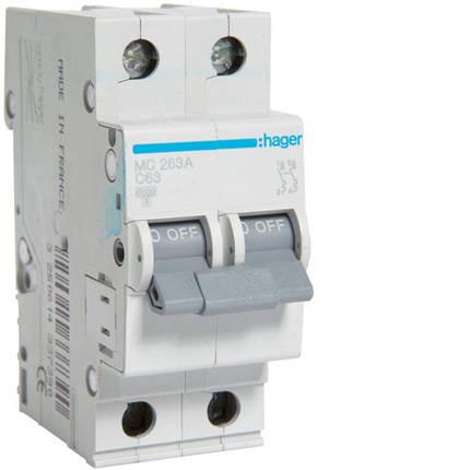 Автоматический выключатель 63А, 2п, С, 6 kA, hager (Германия), фото 2