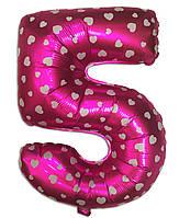 Фольгированная цифра 5 розовая с сердечками, 35 см