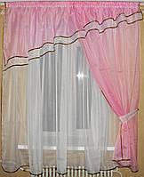 Гардина со шторкой на маленькое окно. №18 Цвет розовый с белым У