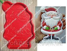 """Набір """"Санта з вусами"""" - пластикова вирубка + трафарет, 12см"""