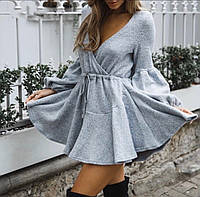 Теплое платье на запах юбка клеш