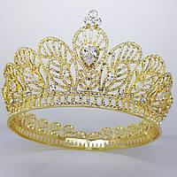 Круглая корона, диадема, тиара для волос, праздничная, под золото