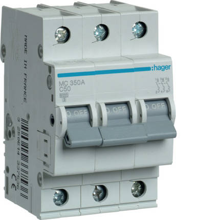 Автоматический выключатель 50 А, 3п, С, 6 kA, hager, Франция, фото 2