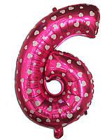 Фольгированная цифра 6 розовая с сердечками, 35 см