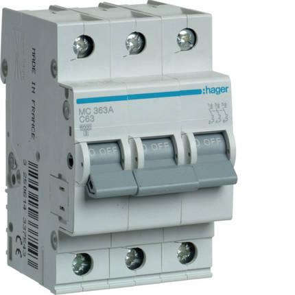 Автоматический выключатель 63 А, 3п, С, 6 kA, hager, Франция, фото 2