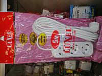 Удлинитель 3гн. 5м. с з/к Luxel