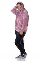 Костюм 72473 брюки велюр, куртка фреза с капюшоном (большие размеры)