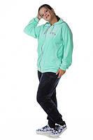 Женский спортивный костюм велюр с капюшоном 72473 (большие размеры)