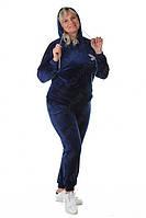 Женский спортивный костюм велюровый с капюшоном 7473 Zeta-m (большие размеры) повседневный модный