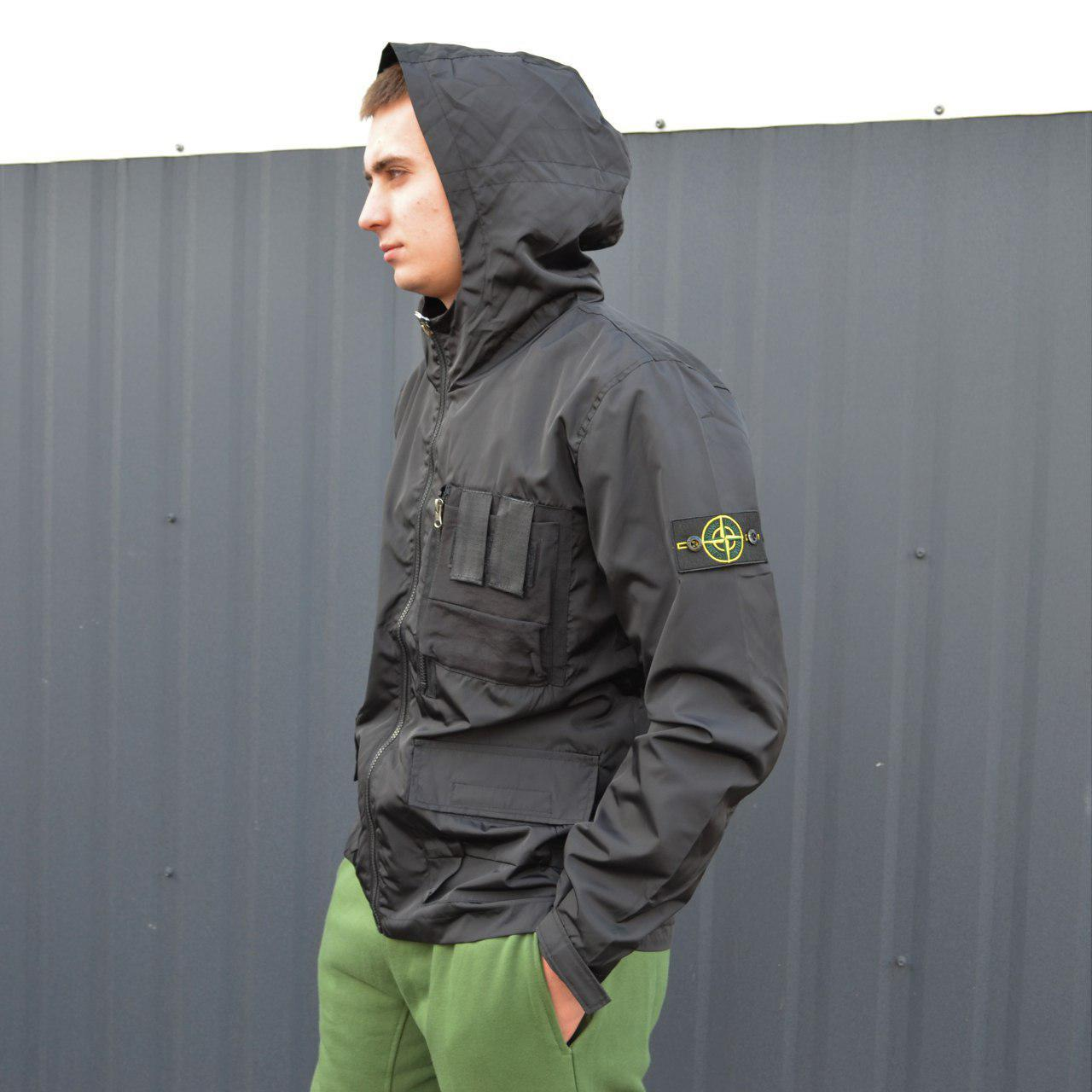 Мужская куртка Stone Island x Supreme Black (реплика)