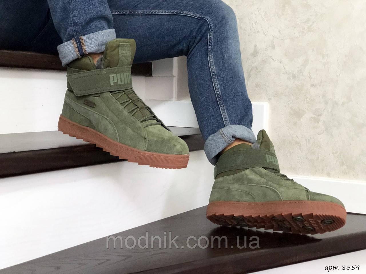 Мужские зимние кроссовки Puma (темно-зеленые)