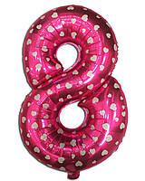 Фольгированная цифра 8 розовая с сердечками, 35 см