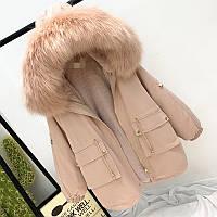 Шикарная теплая женская парка куртка с искусственным мехом