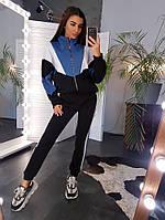 Теплый спортивный костюм колор блок на флисе, фото 1