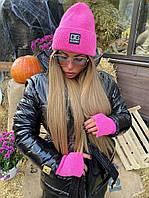 Женская вязанный набор (шапка лопата и перчатки) 18GO204