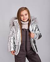 """Зимова куртка для дівчинки """"Лялечка"""" срібло (92,98,104), фото 1"""