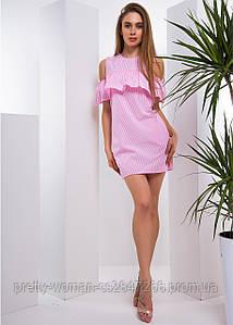 Коттоновое платье с открытыми плечами