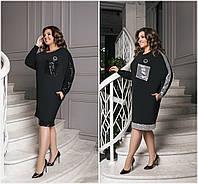 Р-ры 50-60 Нарядное платье с пайетками Батал 20495, фото 1