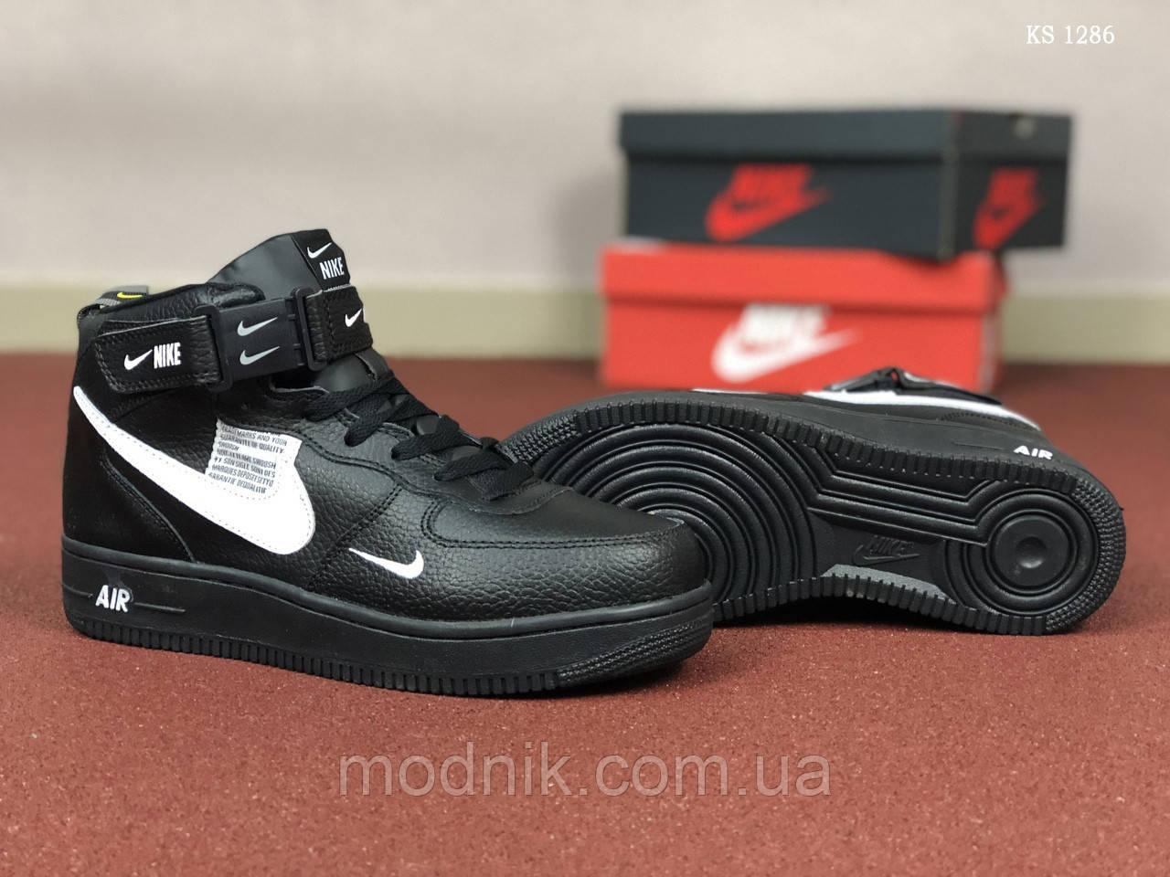 Мужские кроссовки Nike Air Force (черные) ЗИМА