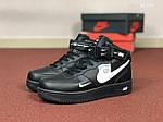 Мужские кроссовки Nike Air Force (черные) ЗИМА, фото 2