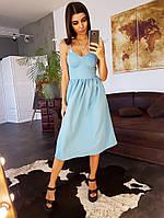 Летнее голубое платье-бюстье с бантами на плечах, фото 1