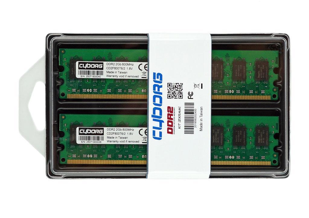 Память DDR2 4GB 800MHz (Kit 2 х 2Gb) оперативная Intel и AMD ДДР2 4 Гб — Комплект PC2-6400 Cyborg CD2F800T6/4