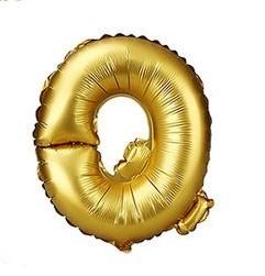 """Золотая буква Q 16"""""""
