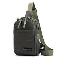 Мужская сумка-рюкзак мужская на одно плечо зеленого цвета