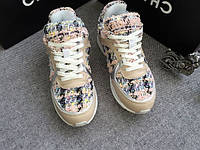 Женские кроссовки Шанель Chanel  розовые вязаные
