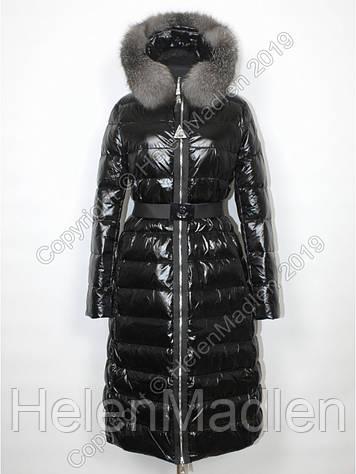 Пуховик женский пальто парка куртка Moncler черный с натуральным мехом