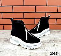 Молодіжні замшеві зимові черевики 36-40 р чорний, фото 1