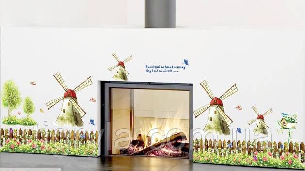 Интерьерная наклейка на стену или окно - декоративные наклейки  Ветряные Мельницы , фото 2