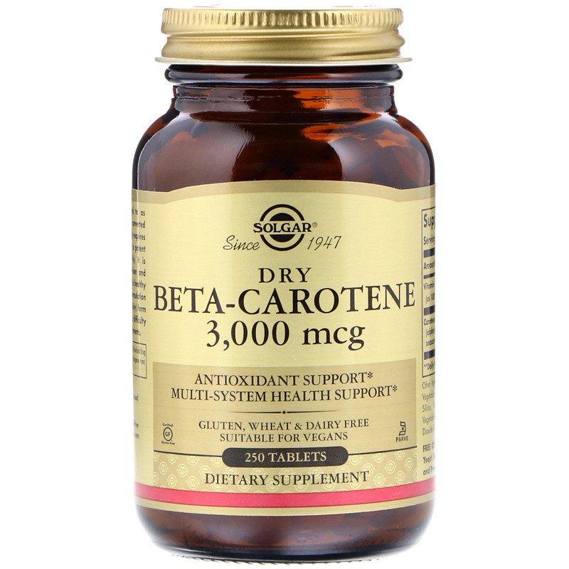 """Сухой бета-каротин SOLGAR """"Dry Beta-Carotene"""" 3000 мкг (250 таблеток)"""