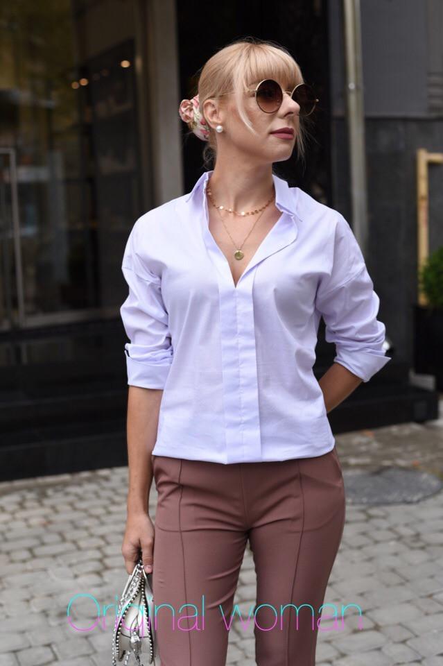 Женская хлопковая белая рубашка классическая 2ru316