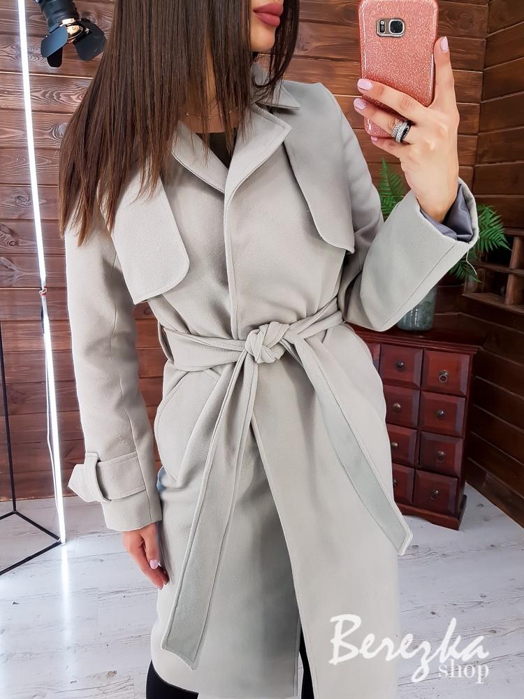 Женское кашемировое Пальто на подкладе под пояс 66pt260Q