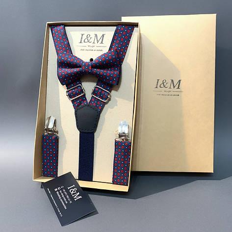Набор I&M Craft галстук-бабочка и подтяжки для брюк синий в красные цветочки (030306), фото 2