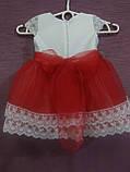 Платье детское нарядное на 1-2 года белое с красным, фото 3