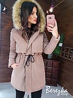Женская зимняя парка на меху с капюшоном и меховой опушкой 66kr203Е