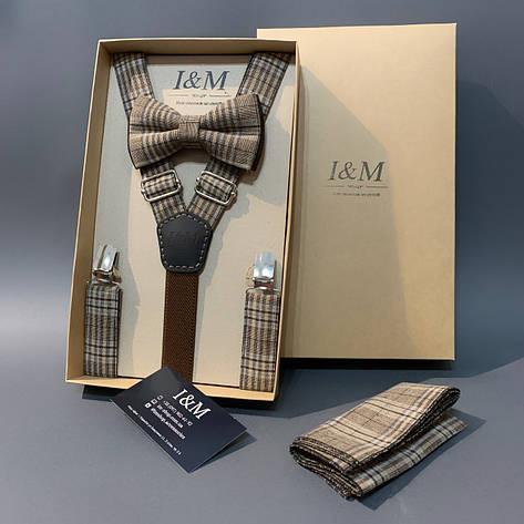 Набор I&M Craft галстук-бабочка, подтяжки для брюк и платок коричневый в клетку (030310), фото 2