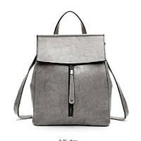 Женский стильный рюкзак-сумка серый из натуральной кожи, опт, фото 1
