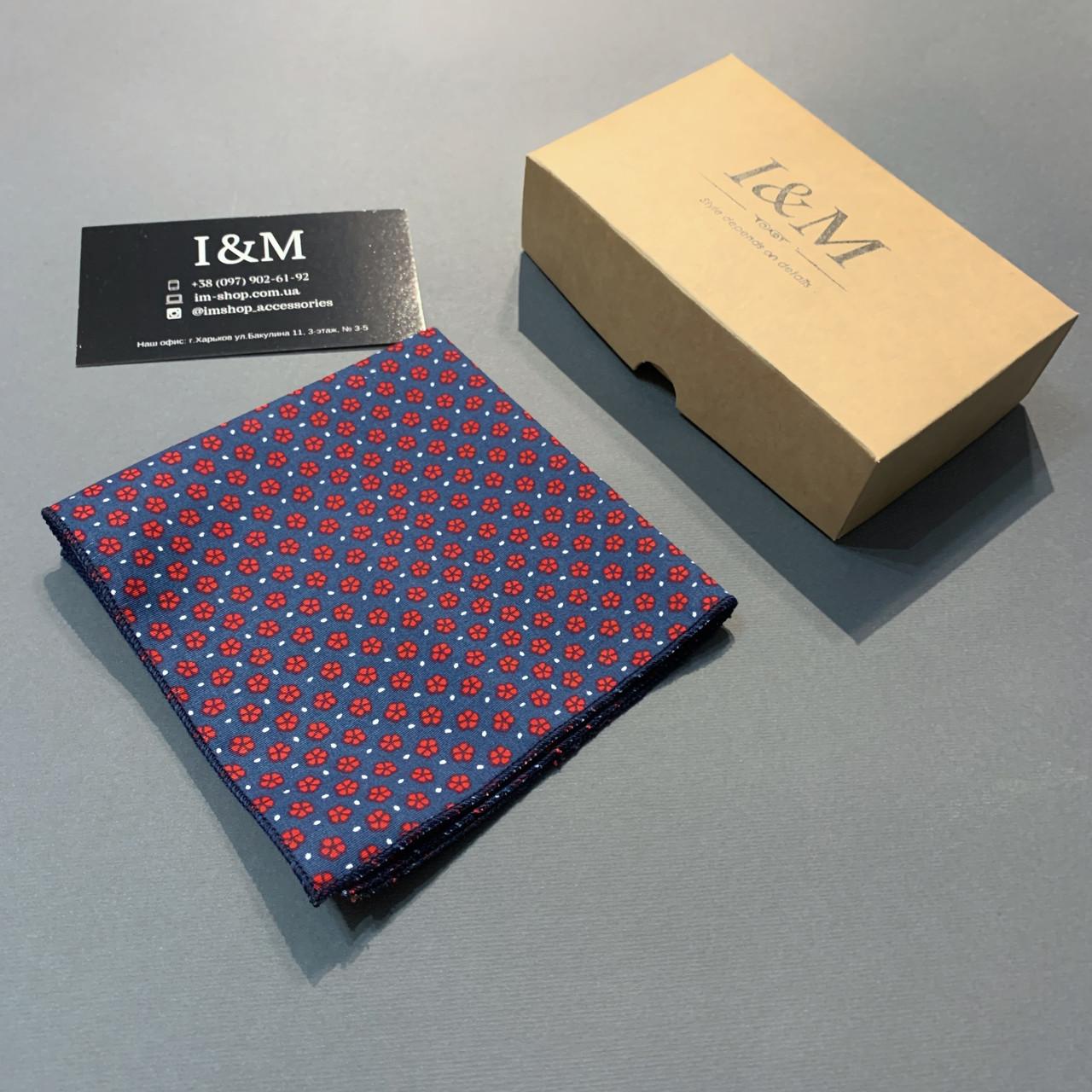 Платок нагрудный I&M Craft синий в красные цветочки (011149P)