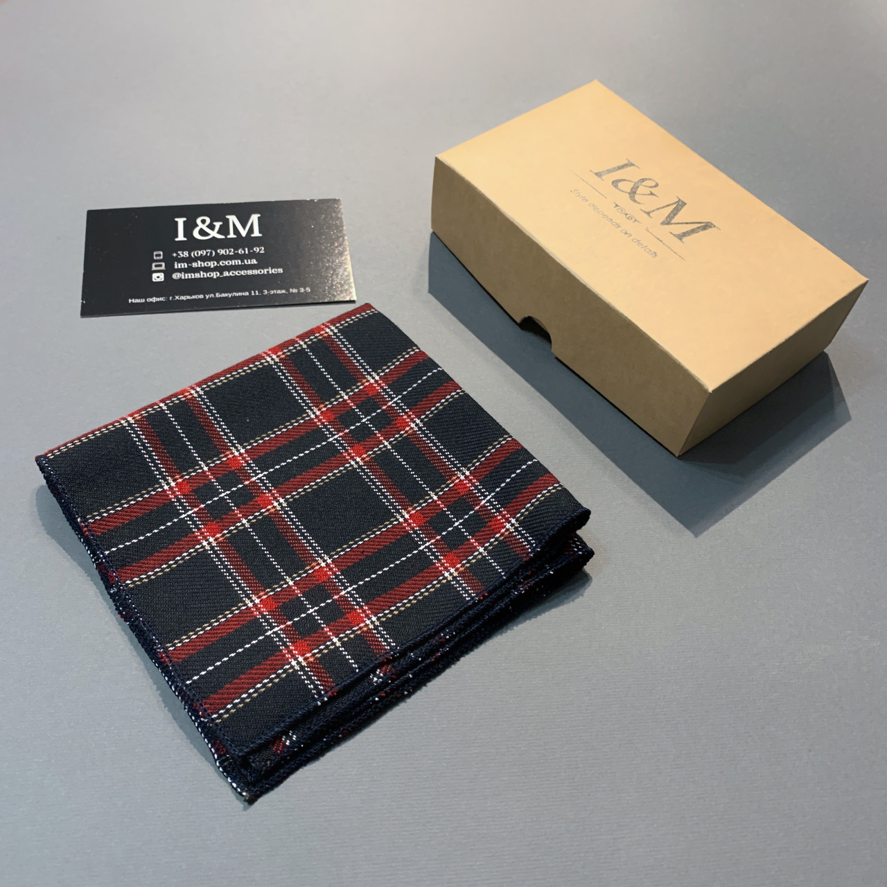 Платок нагрудный I&M Craft шотландская клетка (011150P)