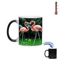 Кружка хамелеон Влюбленные фламинго 330 мл, фото 1