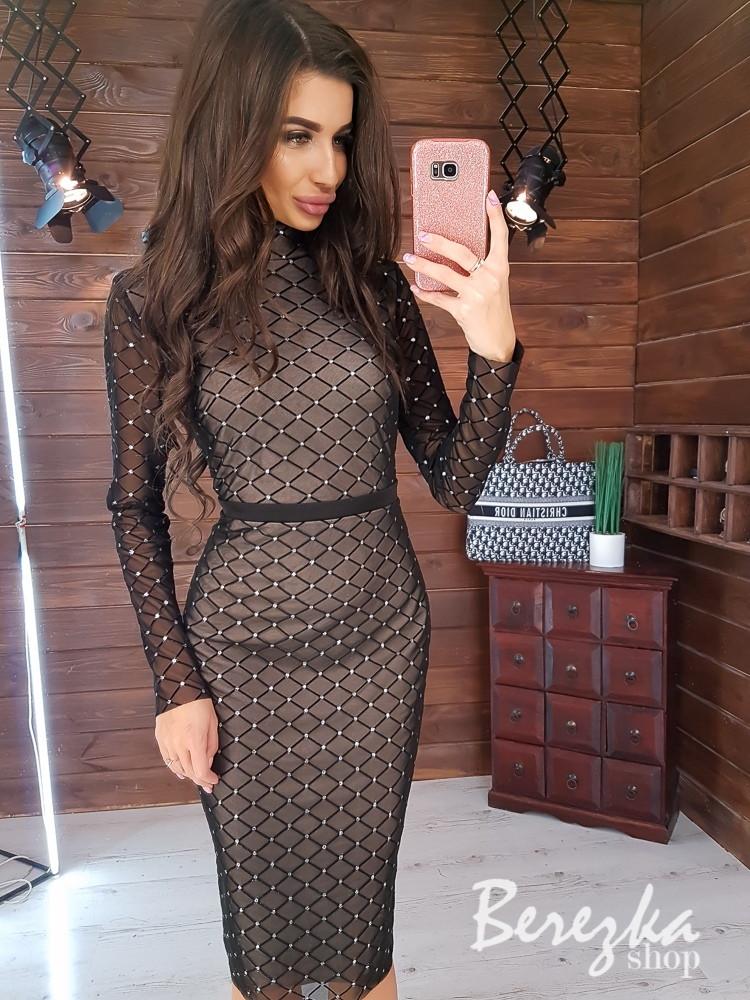 Платье - футляр из узорной сетки на подкладе с длинным рукавом и длиной миди 66py353Q