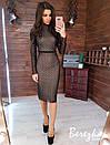 Платье - футляр из узорной сетки на подкладе с длинным рукавом и длиной миди 66py353Q, фото 3