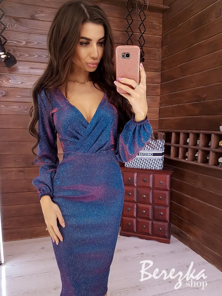 Платье футляр из люрекса хамелеон с верхом на запах и рукавом фонариком 66py354Q